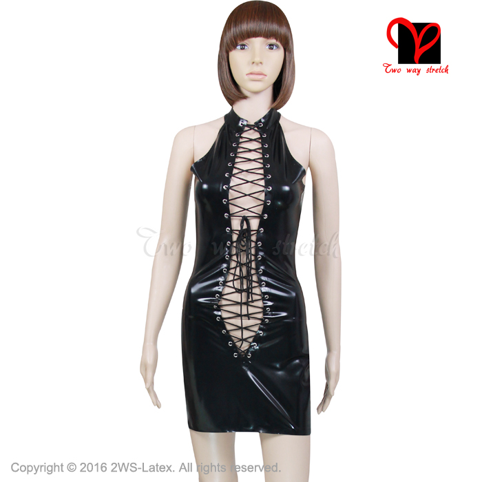 Sexy Black Pencil Latex Dress Lace Up Rubber Bodycon Sleeveless Gummi Plunge Tie front Backless Shift