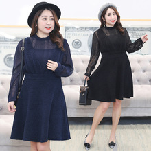 2018 spring dress pure color dress to increase the fashion large size women's fat mm thin thin dress 2019 woolen winter large size dress sweet pure color large size fat mm dress