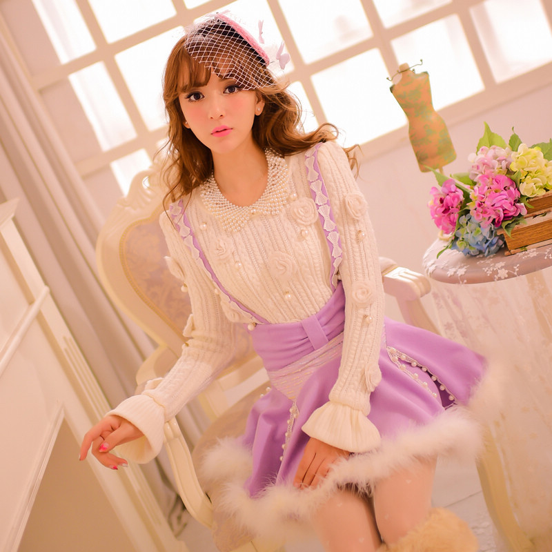 Princess sweet lolita skirt Candy rain Japanese style Cute patchwork empire flannel Romantic purple ball gown