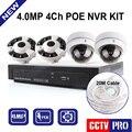 HD 4.0MP Câmera IP POE Cúpula Do Sistema IR 20 m Lente Panorâmica 4MP câmera Onvif CCTV 4CH NVR Kit Gravador de Vídeo H.264 Fisheye vista