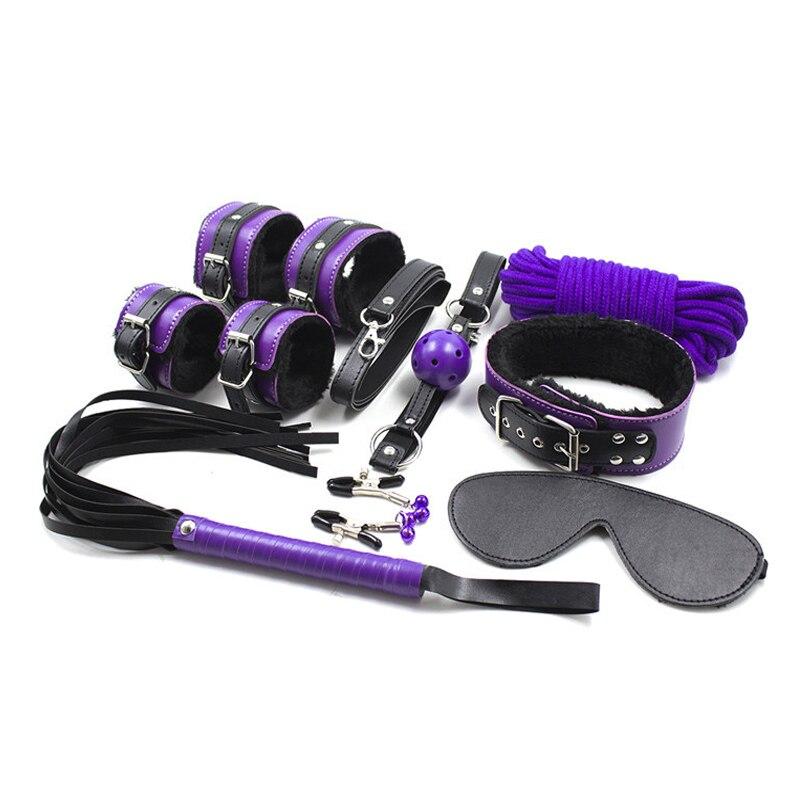 8 шт./компл. стимуляция связывания кожаные плюшевые БДСМ наручники для секса хлыст металлический анальный штекер эротические секс игрушки д