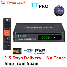 2PCS GTMEDIA TT Pro DVB-T2 DVB-C Satellite TV Combo Receiver Support H.265 HD 1080P+1 Year CCCAM for Europe Spain Poland Germany 1 year europe cccam server hd kii pro dvb t2 dvb t2 tuner android tv box full 1080p italy spain arabic cccam cline media player