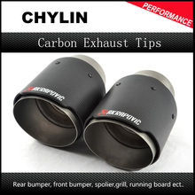 63mm/76mm Coated Akrapovic carbon fiber + stainless steel exhaust tip endpipe tail for bmw 3 series f30 f31 320i