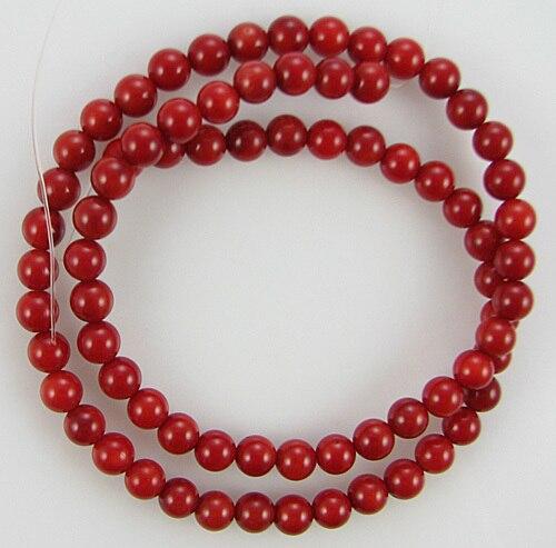 Wholesale 4mm Loose Semi Precious Stones Round Red Coral