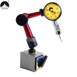 FUJISAN 2 IN 1 Dial Indicator 0-0.8mm/0.01mm Shockproof 7 Jewels With Mini Universal Flexible Magnetic Base Dial Test Indicator