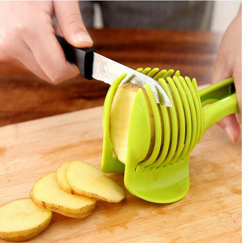 1 Pc มะเขือเทศหอมตัดผักตัด Aid ท่องเที่ยวผู้ถือตัด Slicing Gadget เครื่องมือห้องครัว Multi-Function คลิปอาหาร lemon T