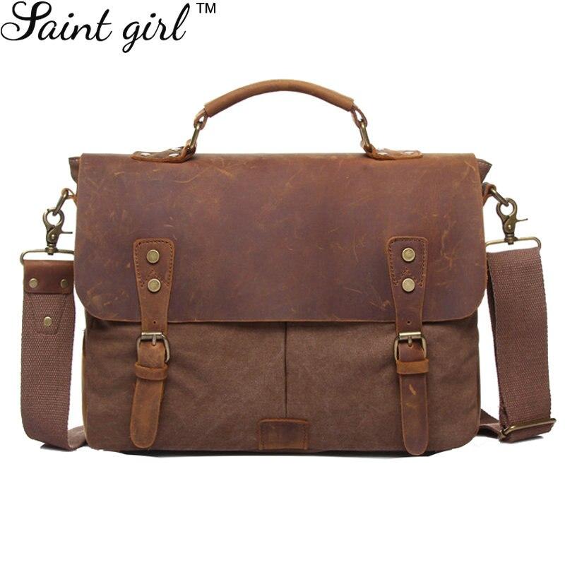 ФОТО Saint Girl Brand Women Messenger Bags Vintage Canvas & Full-grain Genuine Leather Men Shoulder Handbags High Quality SNS003