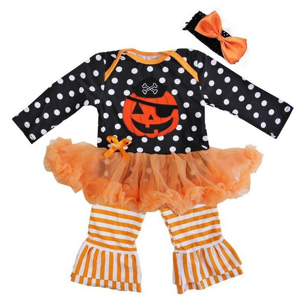 baby girl halloween clothes black orange polka dots pirate pumpkin