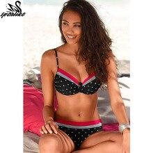 2018 New Sexy Bikini Women Swimsuit Push Up Swimwear Solid Bandage Halter Bikini Set Beach Bathing Suit Swim Wear Biquini XXL