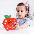 1 Unidades Caliente Montessori Juguetes Educativos Divertido juguete De Madera Gusano comer fruta apple pera bebé juguete de aprendizaje temprano de material didáctico regalo
