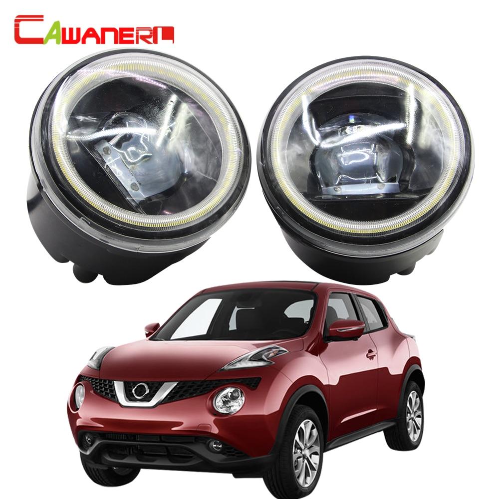 Cawanerl For Nissan Juke F15 Hatchback Car LED Fog Light Kit Angel Eye Daytime Running Light