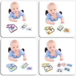 Tarjetas de caja de hierro para bebés y niños juguetes de rompecabezas de cognición juego tarjeta cognitiva vehículo/fruta/Animal/vida set par rompecabezas