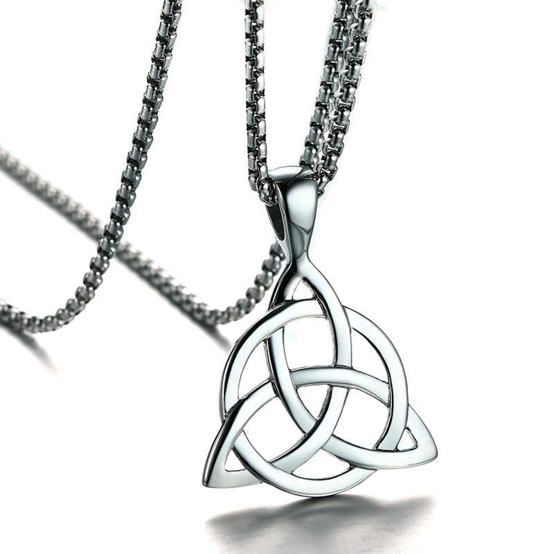 Mens Necklaces Irish Celtic Trinitys Knot Pendant Necklace in Silver Tone Stainless Steel Northern Europe Vintage Jewelry Colar