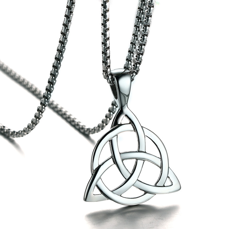 Mens Necklaces Irish Celtic Trinitys Knot Pendant Necklace in Silver Tone Stainless Steel Northern Europe Vintage Jewelry Colar Mens Necklaces Irish Celtic Trinitys Knot Pendant Necklace in Silver Tone Stainless Steel Northern Europe Vintage Jewelry Colar