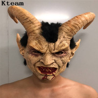 2019 New Scary Adult Costume Horn Mask Horror Party Cosplay Halloween Latex Scary Horns Red Devil Mask for Party Cosplay Toy