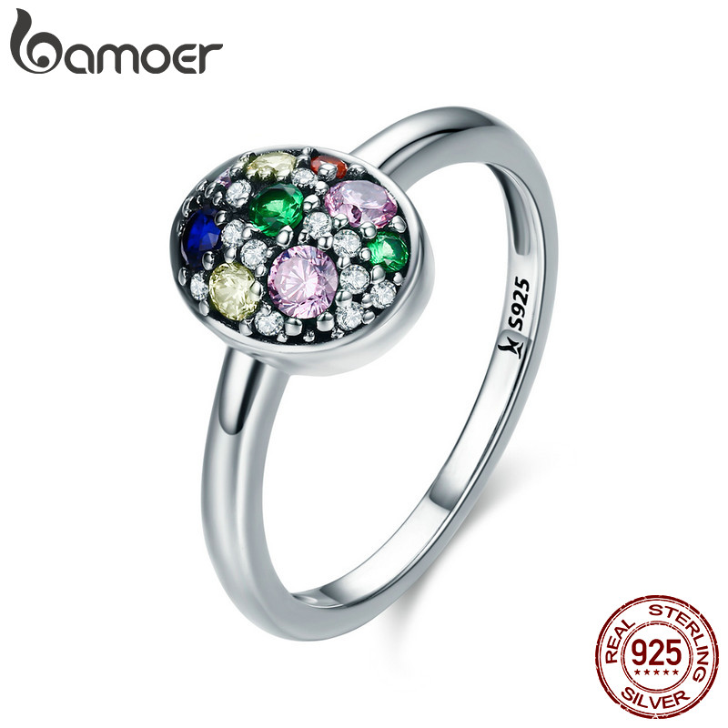 BAMOER Elegant 100% 925 Sterling Silver Easter Egg Colorful CZ Finger Rings for Women Wedding Engagement Jewelry Anel SCR295 vanaxin 925 sterling silver rings for men jewelry iced out cz crystal anel masculino joias engagement wedding rings bague homme