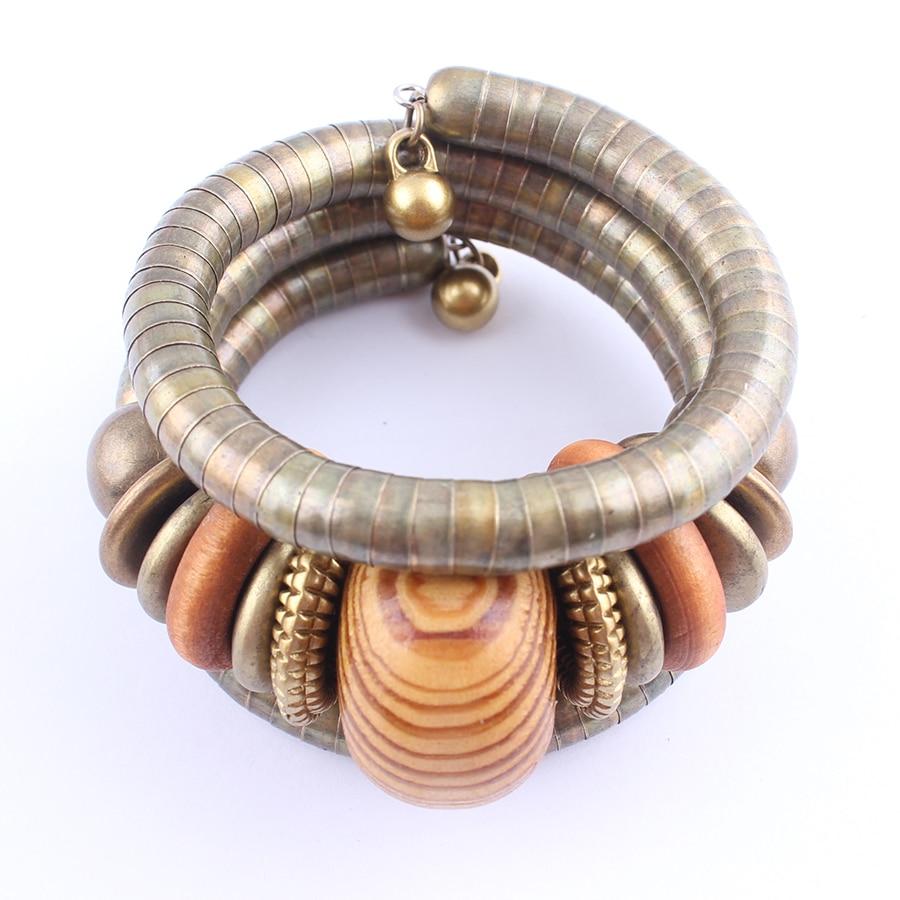 2017 Multilayer Vrouwelijke Armband Legering Snake Chain Hout Kralen - Mode-sieraden - Foto 3