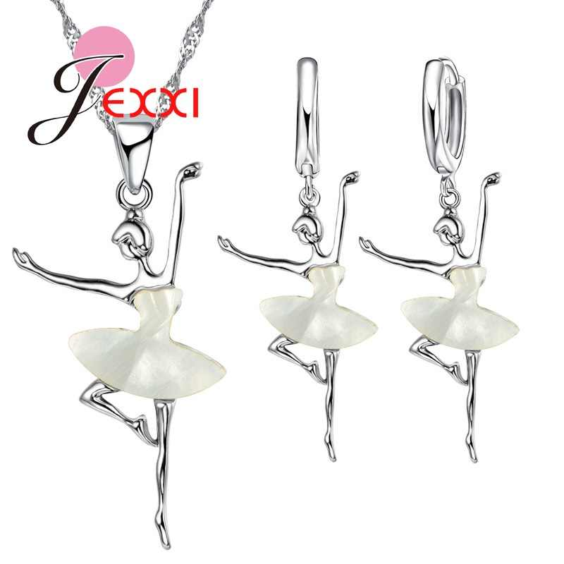 Elegant White Dress Ballet Dancing Girl 925 Sterling Silver Pendant/Necklace/Earrings Jewelry Set Beautiful Jewelry Set