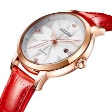 Longbo marca de moda correa de cuero análogo de cuarzo de lujo impermeable reloj de las mujeres de la flor en relieve índice dial relojes de pulsera 5031