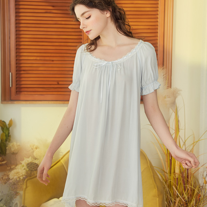 Image 2 - Summer New Cotton Nightgown Lace Sexy Princess Short Sleeve Sleep Wear Night Dress Women Nightshirt Vintage Solid NightdressNightgowns & Sleepshirts   -
