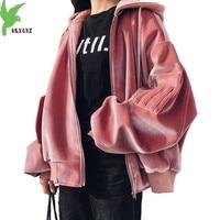 Large size Velvet Sweatshirts for Women 2018 Autumn Winter Hoodies Tops Loose Thicken Baseball Clothing Student Coats OKXGNZ2031