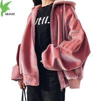 Large size Velvet Sweatshirts for Women 2018 Autumn Winter Hoodies Tops Loose Thicken Baseball Clothing Student Coats OKXGNZ2031