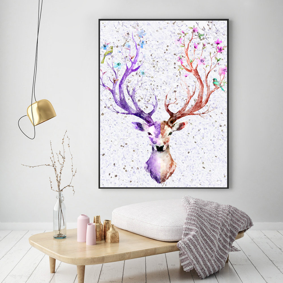 Watercolor Colorful Deer Animal Nordic Posters And Prints Wall Art Canvas Painting Wall Pictures For Living Room Bedroom Decor in Painting Calligraphy from Home Garden