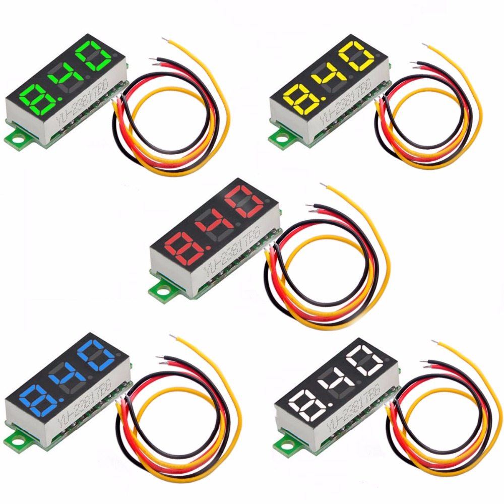 5pcs 3-Wire Mini Digital Voltmeter 0.28 Inch LED Display DC 0-100V Gauge Tester  Red, Green, Blue, Yellow And White DIY0062