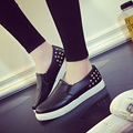 2016 Spring Autumn Women Leather shoes For Woman Black Loafers snakeskin shoes slip on Loafer Casual Shoes zapatos mujer