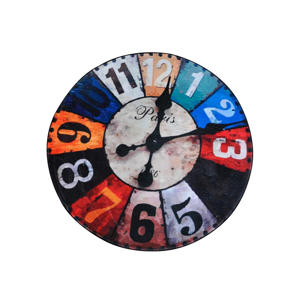 HobbyLane Retro Wall Clock Shape Door Mat for Bedroom Living Room image