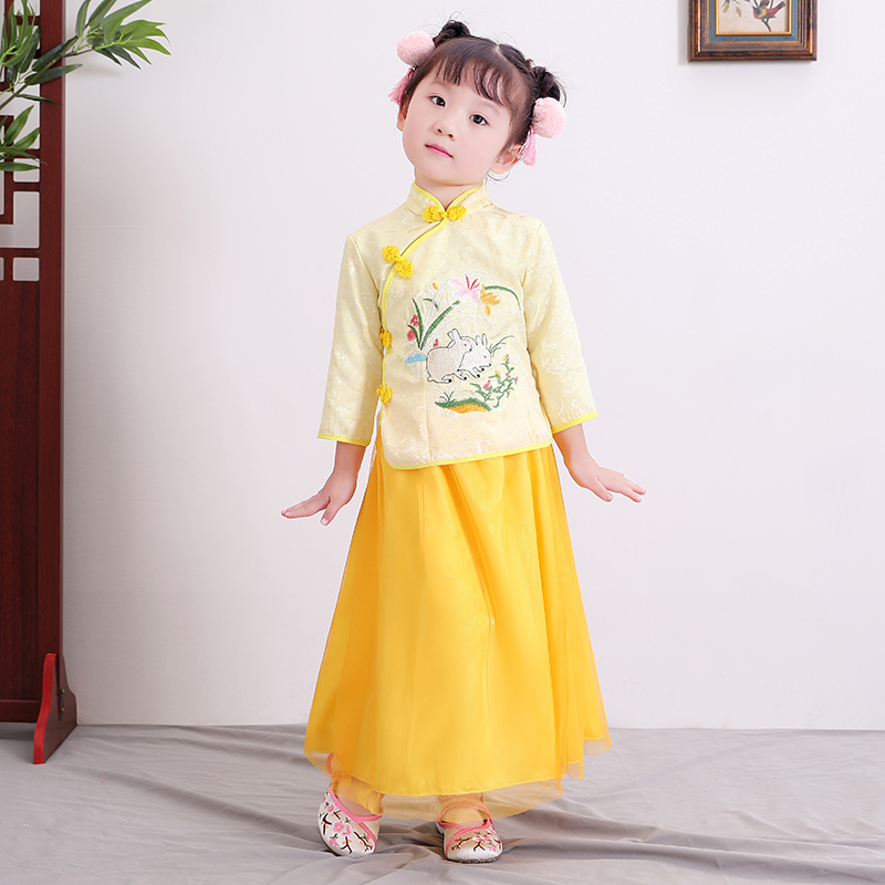 2018 autumn traditional chinese dance costumes children girls for kids dresses folk costume teens ancient hanfu for girl 2018 autumn girl ancient chinese traditional national costume hanfu dress princess children hanfu dresses cosplay clothing girls