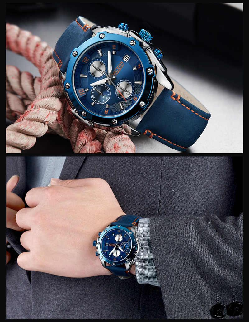 MEGIR Mannen Horloge Topmerk Luxe Blauw Chronograph Horloge Datum Militaire Sport Lederen Band Mannelijke Klok Relogio Masculino 2074