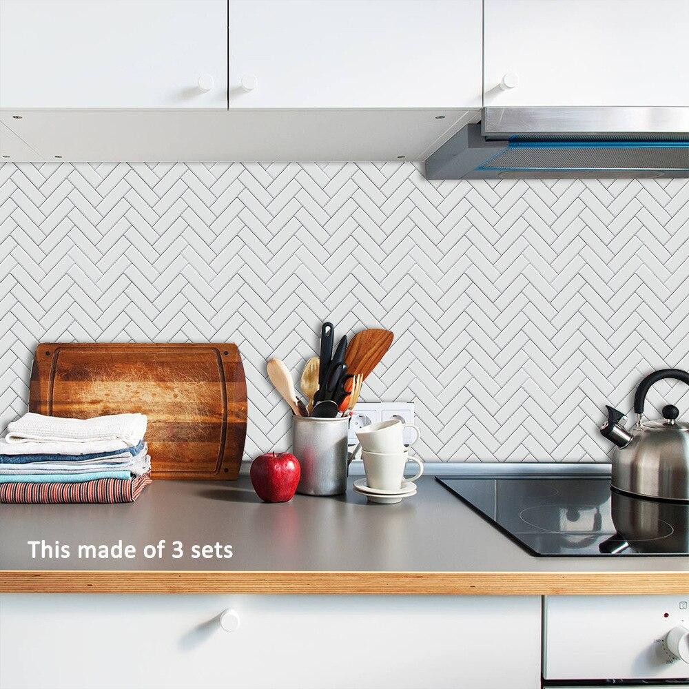 10pcs set Simple Morden Tile Sticker Bathroom Kitchen Decoration Wall Sticker Home Decor Floor Tiles Art Mural Film Stickers in Wall Stickers from Home Garden