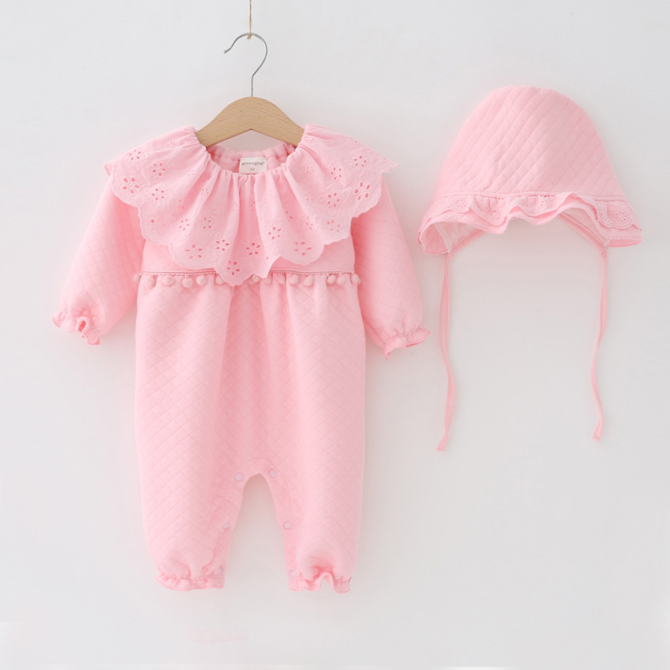 Autumn Winter Baby Girl Rompers Clothes Princess Flowers Newborn Clothing Set Peter pan Collar Infant White Lace Jumpsuit + Hats cotton baby rompers set newborn clothes baby clothing boys girls cartoon jumpsuits long sleeve overalls coveralls autumn winter