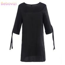 Bebovizi Women New 2019 Summer Fashion Vintage Casual Office Elegant Sexy Dress Plus Size Solid Black Straight O-Neck Dresses
