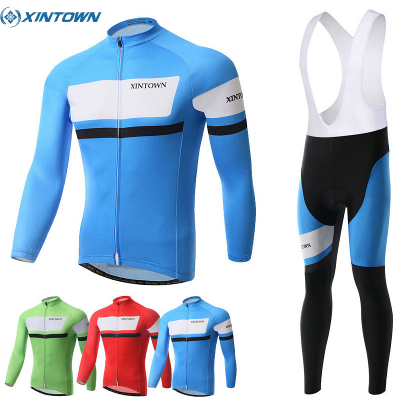 XINTOWN Men s Cycling Suits Long Jersey Long Sleeve Tights Pants Blue Green Red