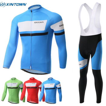 XINTOWN  Men's Cycling Suits Long Jersey Long Sleeve & Tights Pants Blue Green Red