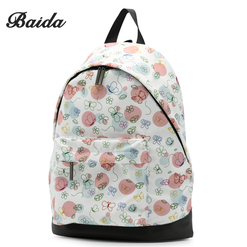BAIDA Fashion Girls Print Backpack Clear Floral Printing Bag Backpacks School Travel Laptop Rucksack Teen Unique Daypack baida fashion green floral print backpack flower pattern women cool daypack teenage school bags for youth girls boys rucksacks