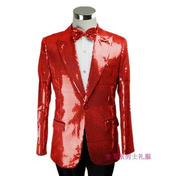 New Blue Sequined Mens Wedding Suit Jacket Dress Fashion Slim Paillette Formal Party Prom Costume Men Plus Size Suit Blazers