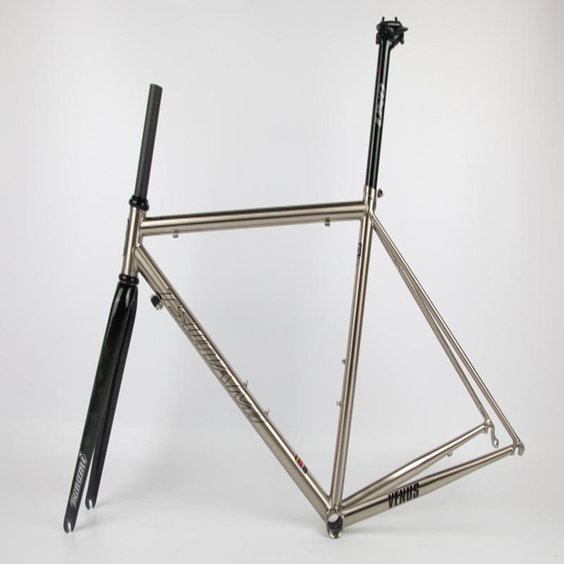 Flash Deal TSUNAMI 520 chrome-molybdenum steel Bicycle Frame Road Bike Frame + full carbon front Fork or steel Fork 2