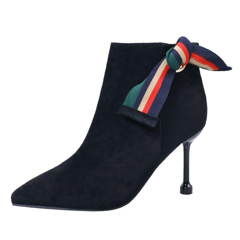 Bottes Martin bottes à talons aiguilles pour femmes automne et hiver nouvelles chaussures à talons hauts pointus nœud chat et bottes nues
