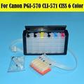 6 cores/set sistema de abastecimento contínuo de tinta ciss para canon pgi570 cli571 571gy ciss para canon mg7750 mg7751 mg7752 mg7753