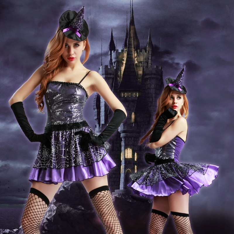Sexy Witch Cosplay Costume Lace Hot Stamping Purple Dress Female Sorceress Uniform Outfit Women Role Play Suit 9923