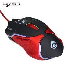 Hxsj 6 teclas wired gaming mouse a903 3200 dpi colorido led respiração luz usb com fio do mouse do jogo óptico