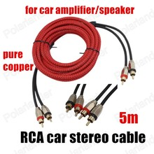 Car Audio Wire Amplifier Subwoofer Speaker Power Cable Car Speaker Parts red RCA to RCA pure copper 1 pc 5 meters
