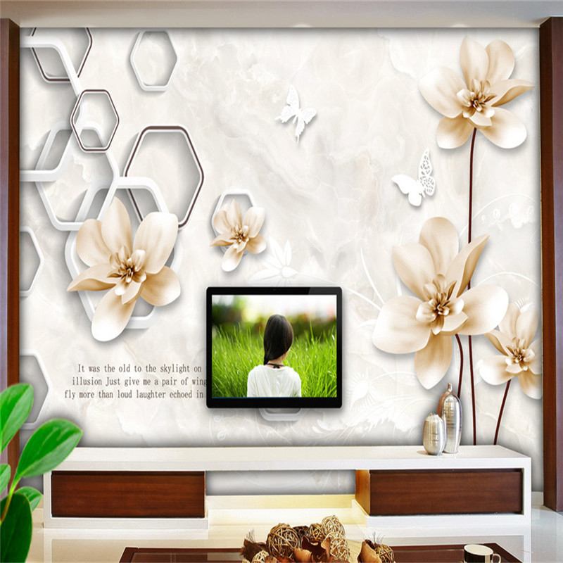 3D Custom Wallpapers Chinese Style Golden Flowers Murals Hand-painted Birds Florals Photo Walls Papers for Living Room Backdrop custom 3d elegant hand painted flowers