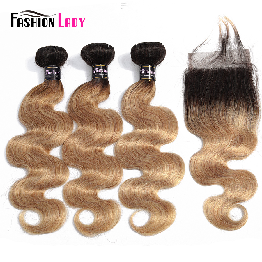 FASHION LADY Pre-Colored Malaysian Body Wave Hair Weave Ombre Human Hair T1B/27 Bundles With Closure 4x4 Inch Closure Non-Remy