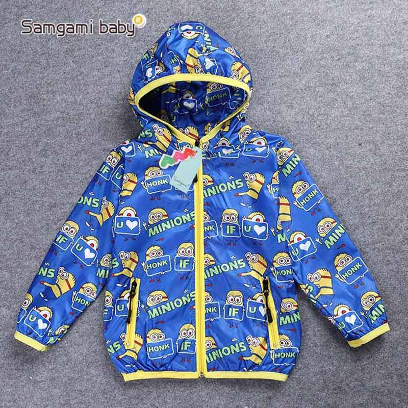 SAMGAMI BABY New Design Minions Thin Coats Baby Clothing Hoodies Children Kids Cartoon Windbreaker Childrens Clothing Outerwear