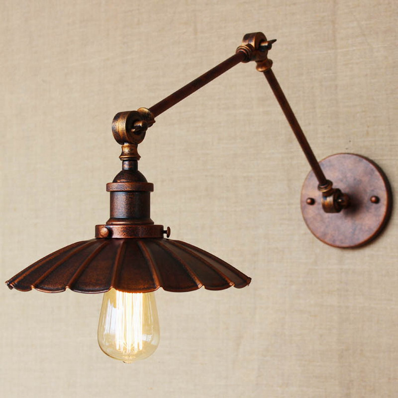 Permalink to industrial Portuguese style antique rust wall lamp/swing arm wall lighting for workroom/Bathroom Vanity 2 applies arm Tornado