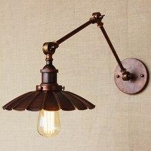 Lámpara de pared industrial de estilo portugués de óxido antiguo/Iluminación de pared de brazo oscilante para sala de trabajo/tocador de baño 2 se aplica Tornado de brazo